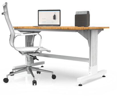 Image of a desktop setting with a freestanding Clean Zones unit